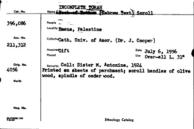 Incomplete Torah Hebrew Text Scroll