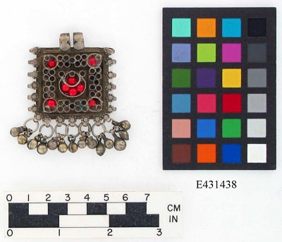 Square pendant with bells