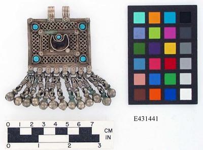 Silver rectangular pendant with bells