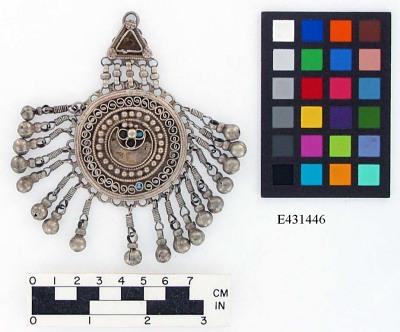 Circular silver pendant with bells