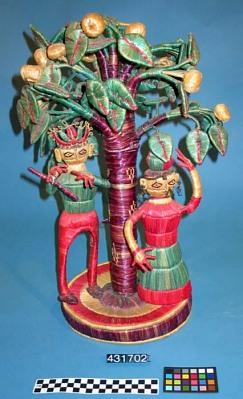 Raffia Figures: People Under Fruit Tree
