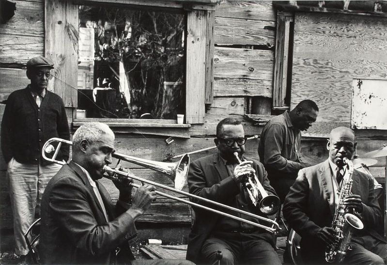 Image for Outdoor Recording Session, New Orleans / Seated Musicians L. to R.: Louis Nelson, Kid Sheik, Chester Jones, John Handy