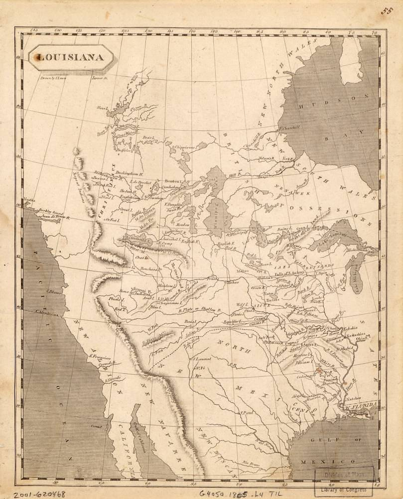 Map of the Louisiana Purchase, From Samuel Lewis, A New and Elegant General Atlas
