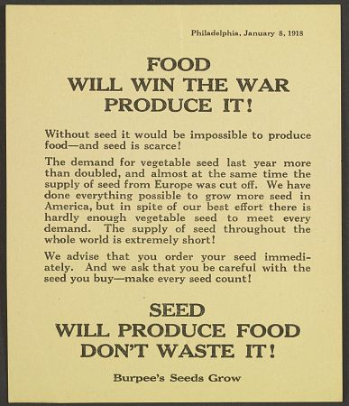 "Catchy slogans like ""Food Will Win the War"" appeared in numerous ads and posters aimed at encouraging the American public to do their part for the war effort."
