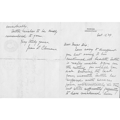 Letter from Jean Clemens to Eulabee Dix