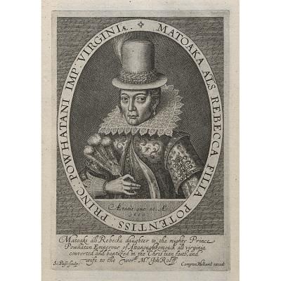 Pocahontas, illustration in Baziliωlogia A Booke of Kings, London, Compton Holland, 1618