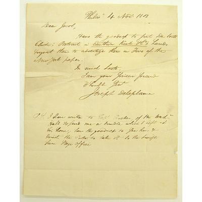 Letter from Joseph Delaplaine to Jacob Rapelye
