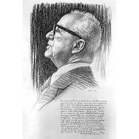 Image of Buckminster Fuller as the Thinker