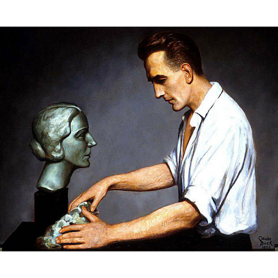 George Auer sculpting a portrait of his wife