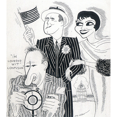 Claudette Colbert, George M. Cohan and Jimmy Durante in