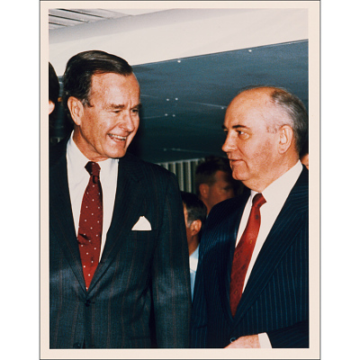 George Bush and Mikhail Gorbachev