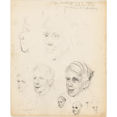 9 Pencil Sketches of Robert Lee Frost