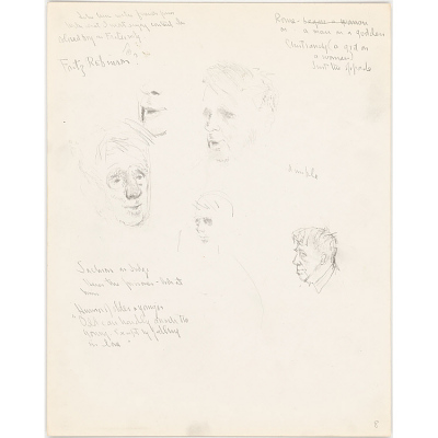 5 Sketches in Pencil of Robert Lee Frost