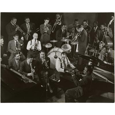 Duke Ellington, Dizzie Gillespie, Buck Clayton and Max Kaminsky