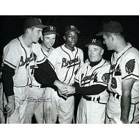 Image of Hank Aaron, Delbert Rice, Andrew Pafko, Fred Haney and Joseph Adcock