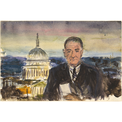 Color composition study for portrait of Lyndon B. Johnson