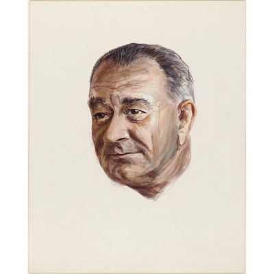 Color study of Lyndon B. Johnson's head