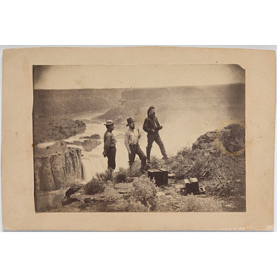 Three Men at Shoshone Falls (figure at left is possibly photographer William Henry Jackson)