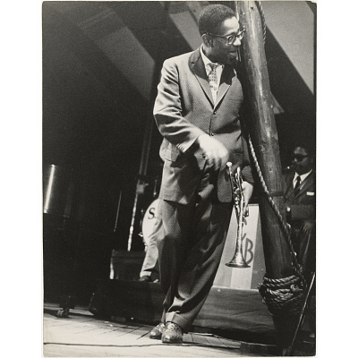 Dizzy Gillespie at the bandstand, Newport Jazz Festival, RI