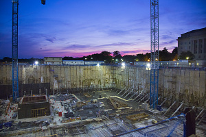 Night View of Construction of NMAAHC, 2013, by Michael Barnes, Image ID# 2013-03273.