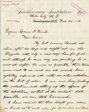 William Temple Hornaday Letter - Dec 21, 1886 - Page 1