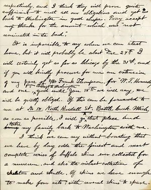 William Temple Hornaday Letter - Dec 21, 1886 - Page 2