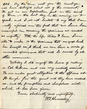 William Temple Hornaday Letter - Dec 21, 1886 - Page 4
