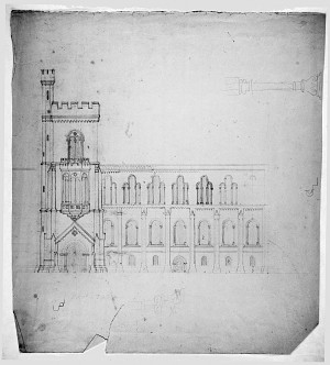 Drawing of the Smithsonian Castle by James Renwick Jr.