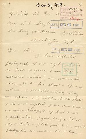 Wilson A. Bentley Letter - Dec 15, 1904 - Page 1