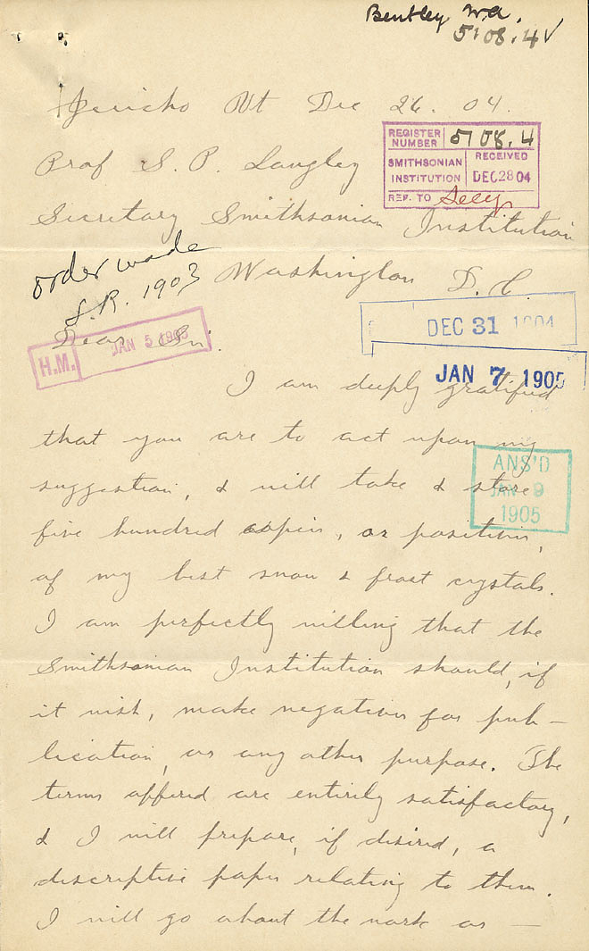 Wilson A. Bentley Letter - Dec 26, 1904 - Page 1