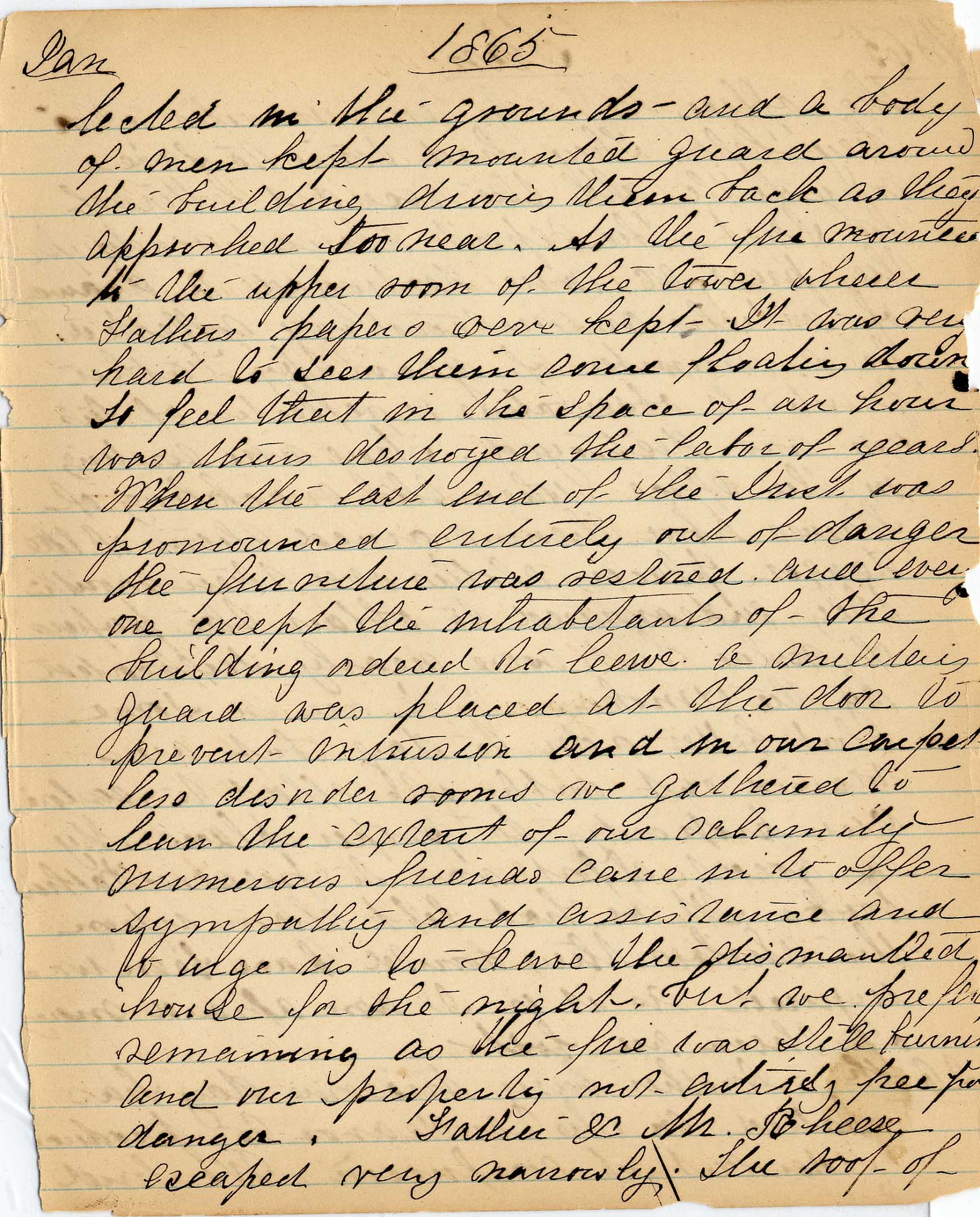 Mary Henry Diary, Fire - Jan 1865 - Page 3