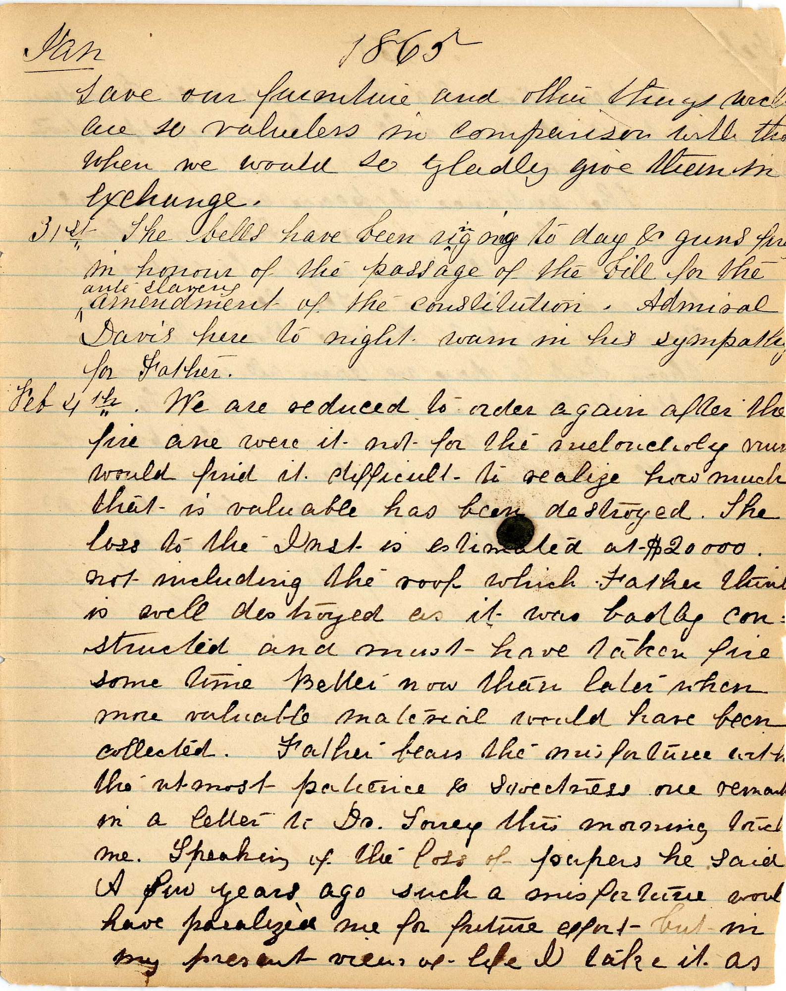 Mary Henry Diary, Fire - Jan 1865 - Page 7