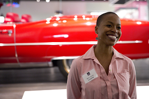 Curator Rhea Combs in Front of Chuck Berry's Convertible, NMAAHC