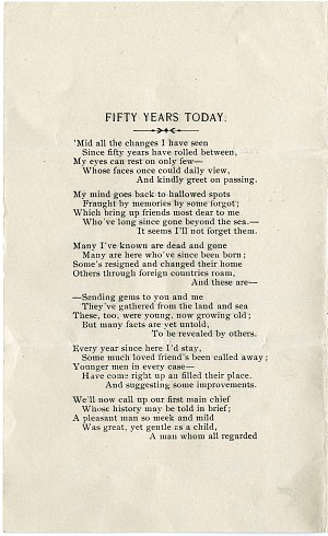 """Solomon Brown Poem, """"Fifty Years To-day,"""" 1903 - Page 2"""