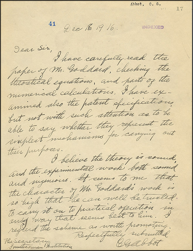 Robert Goddard Letter - Dec 16, 1916