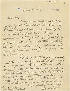 Robert Goddard Letter - Dec 16, 1916