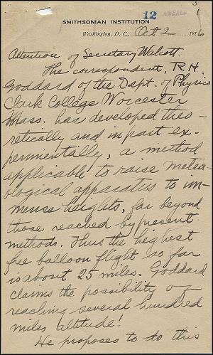 Robert Goddard Letter - Oct 2, 1916 - Page 1