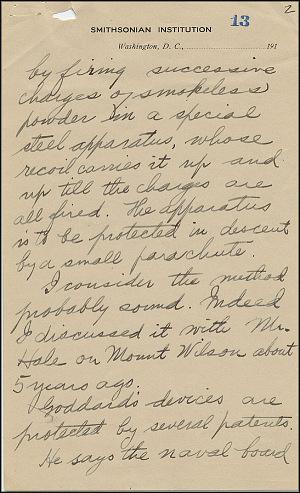 Robert Goddard Letter - Oct 2, 1916 - Page 2