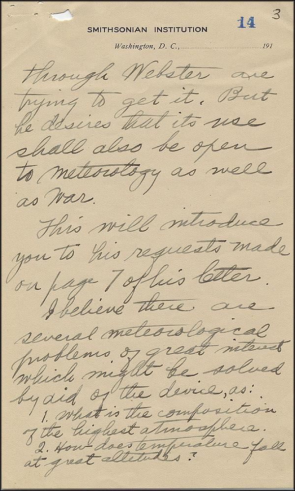 Robert Goddard Letter - Oct 2, 1916 - Page 3