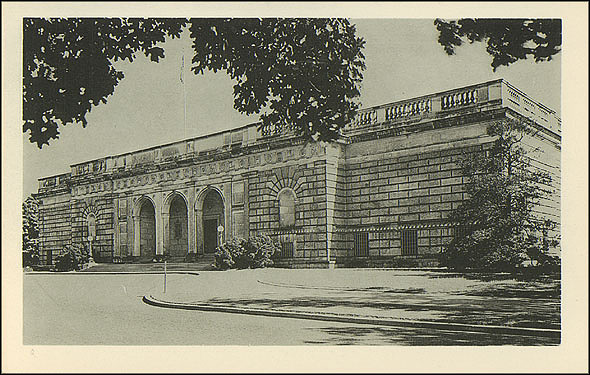 Grayscale Postcard of the Freer Gallery
