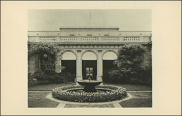 Grayscale Postcard of the Freer Fountain