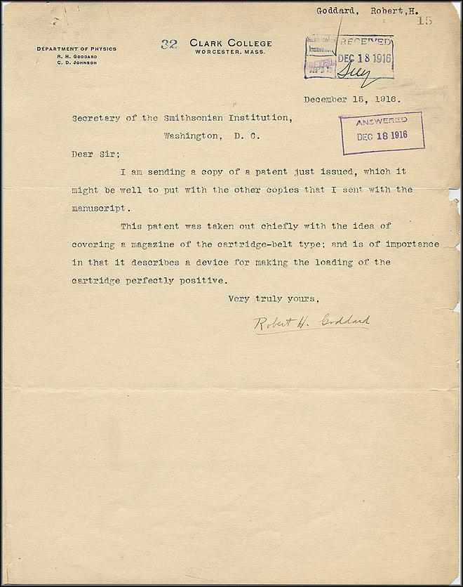 Robert Goddard Patent - Dec 15, 1916 - Page 1