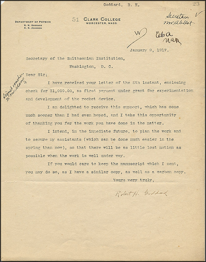 Robert Goddard Letter - Jan 9, 1917