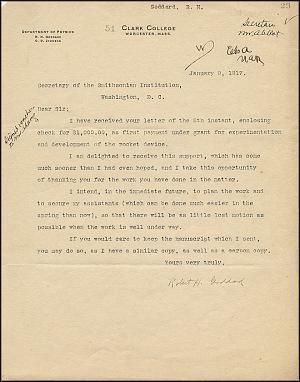 Robert Goddard Letter - Jan 9, 1917