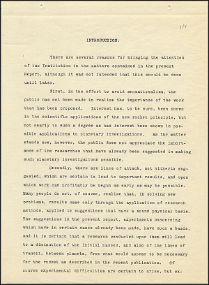 Robert Goddard Report  - March 1920 - Page 1