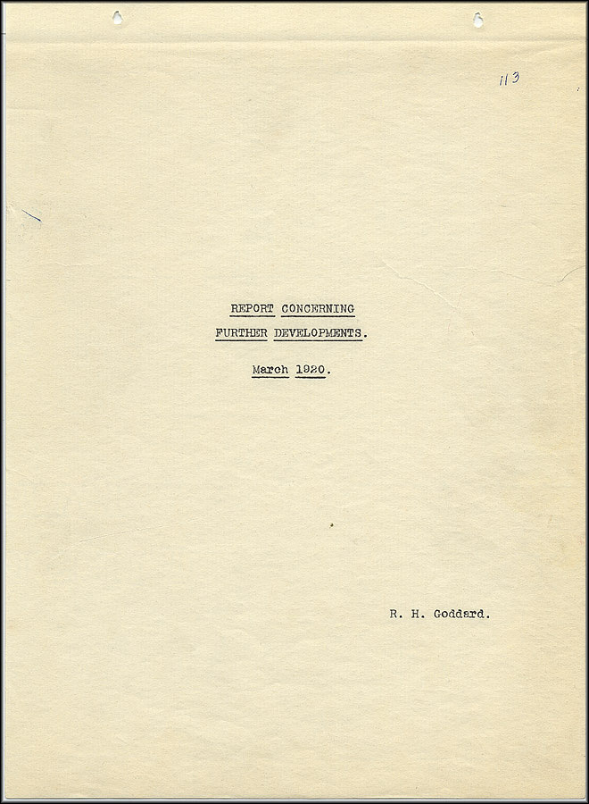 Robert Goddard Report - March 1920 - Title Page