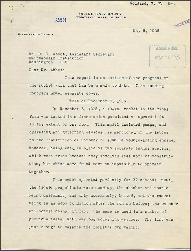 Robert Goddard Report  - May 5, 1926 - Page 1