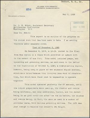 Robert Goddard Report  - May 5, 1926 - Page 1