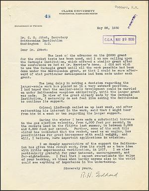 Robert Goddard Letter - May 28, 1930
