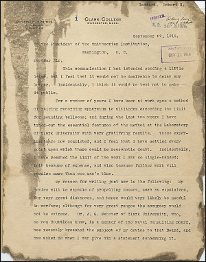 Robert Goddard Proposal - Sept 27, 1916 - Page 1